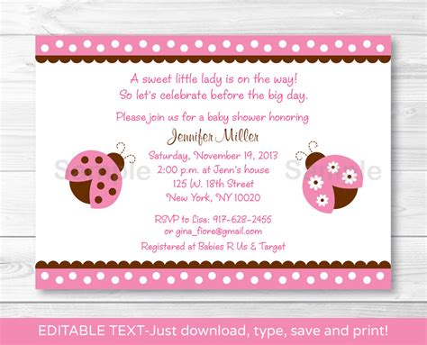 Ebay Baby Shower by Pink Ladybug Printable Baby Shower Invitation Editable Pdf Ebay