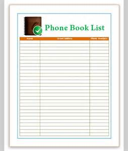 Phone Contact List Template List Template For Phone Sample Of Phone List Template