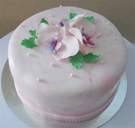 feminine birthday cake  moth orchids   sugar paste cakecentralcom