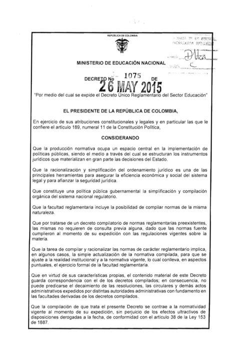 decreto 1069 de 2015 inicio decreto 1075 de 2015 dercreto unico reglamentario del