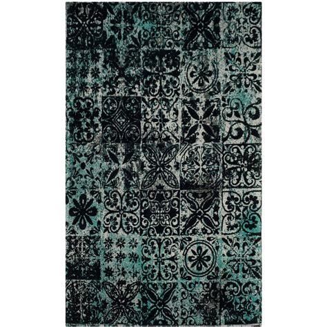 black teal rug safavieh classic vintage teal black 5 ft x 8 ft area rug clv221a 5 the home depot