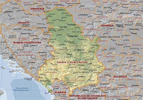 svizzera serbia serbia e montenegro carta geografica mappa della serbia e