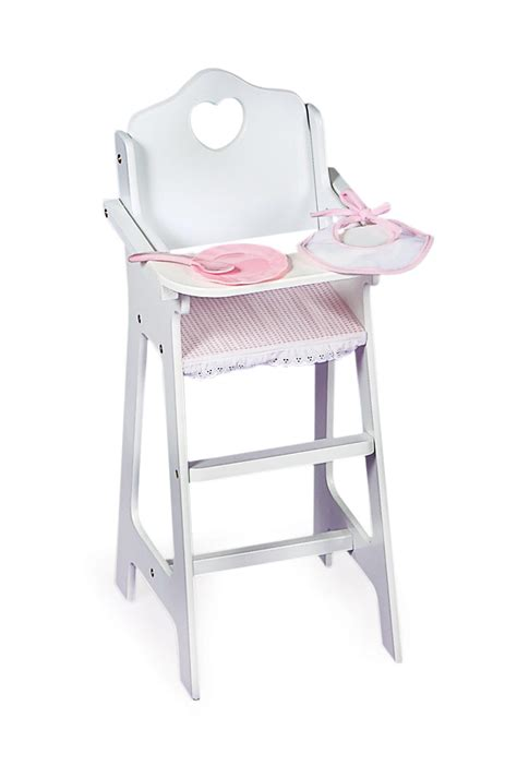 pattern for wood doll high chair white doll high chair with pink gingham plate bib and
