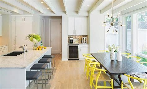 Long Island Kitchen Contemporary Kitchen Features A Long Center Island Lined