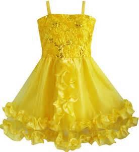 Yellow Lace Flower Dress Size Mlxl 12648 pageant flower dress wedding yellow shinning sequins size 4 10 formal ebay