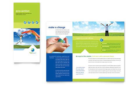 Green Living Recycling Tri Fold Brochure Template Word Publisher Microsoft Brochure Templates