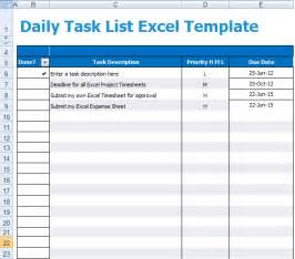 Template For Task List Daily Task List Excel Template Xls Microsoft Excel Templates