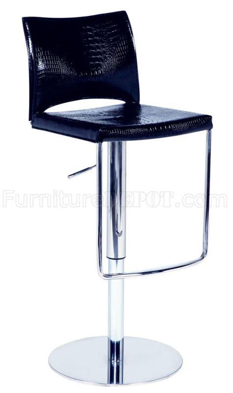 Dining Chair Ac 105 black crocodile regenerated leather steel set of 2 barstools