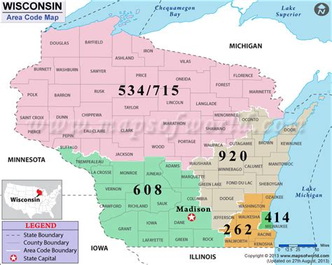 Area Code Wisconsin Map   Wisconsin Map