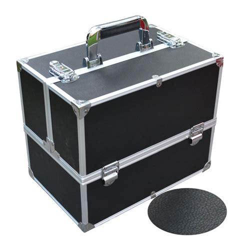 Vanity Box For 2 layer cosmetic makeup vanity box for traveling aluminum pu