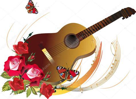 imagenes de guitarras rojas guitarra en ilustraci 243 n de flores rosas rojas vector de