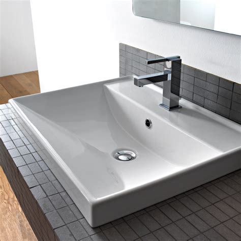 square drop in bathroom sink scarabeo 3001 by nameek s ml square white ceramic drop in