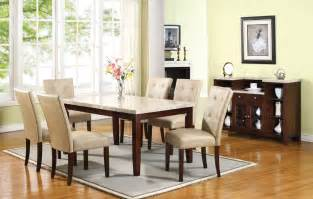 Marble Top Dining Room Table Sets White Marble Top Dining Table Set Pu Leather Chairs 7pc