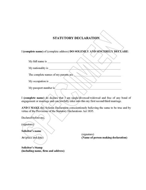 Birth Certificate Declaration Letter For Passport Statutory Declaration Template