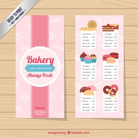 cute bakery menu template vector free download