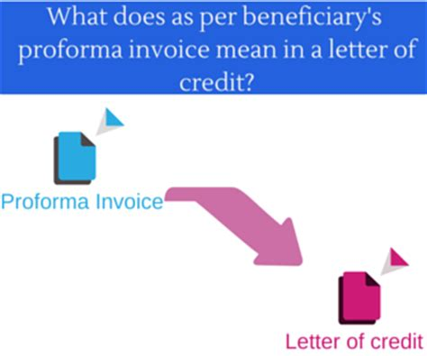 Proforma Invoice Credit Letter What Does Quot As Per Beneficiary S Proforma Invoice Quot In A Letter Of Credit Advancedontrade