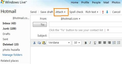 format email hotmail how to add an attachment in hotmail