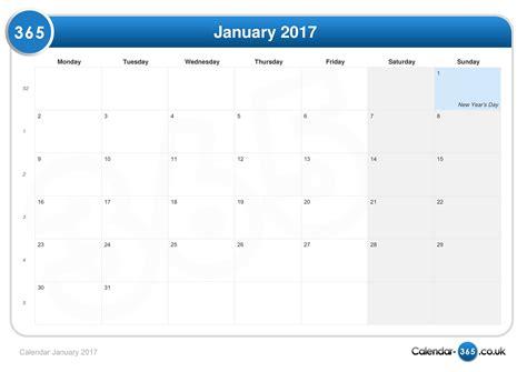 Jan Calendar Calendar January 2017