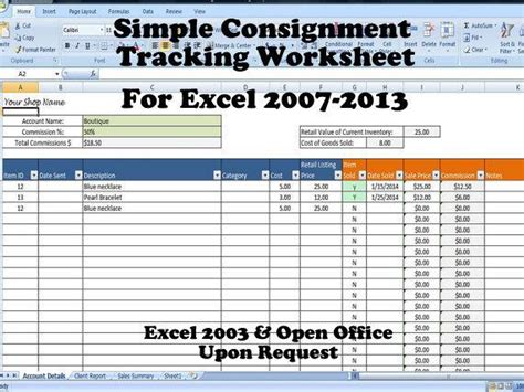 Simple Consignment Tracking Worksheet Calculates Your Sales Shipment Tracking Website Template