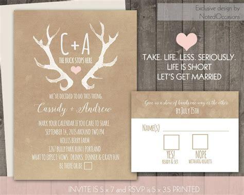 deer wedding invitations deer antlers rustic wedding invitation set casual 2461380