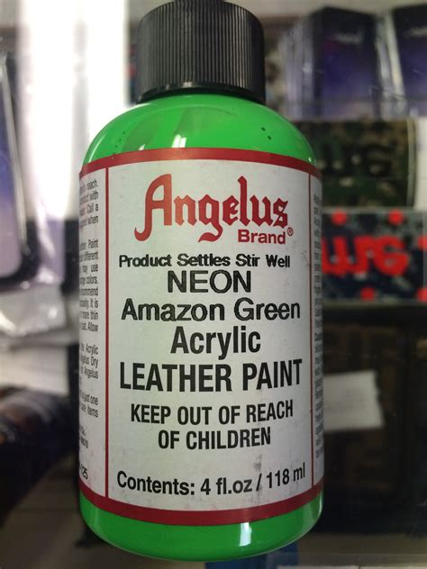 angelus leather dye vs paint angelus neon green acrylic leather paint 4 fl oz