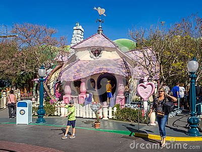 sections of disneyland minnie mouse house in toontown disneyland editorial photo