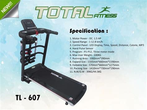 Treadmill Elektrik Tl 607 Motor 1 5hp Treadmil Listrik treadmil elektrik paling murah dan bagus tl 607 seperti