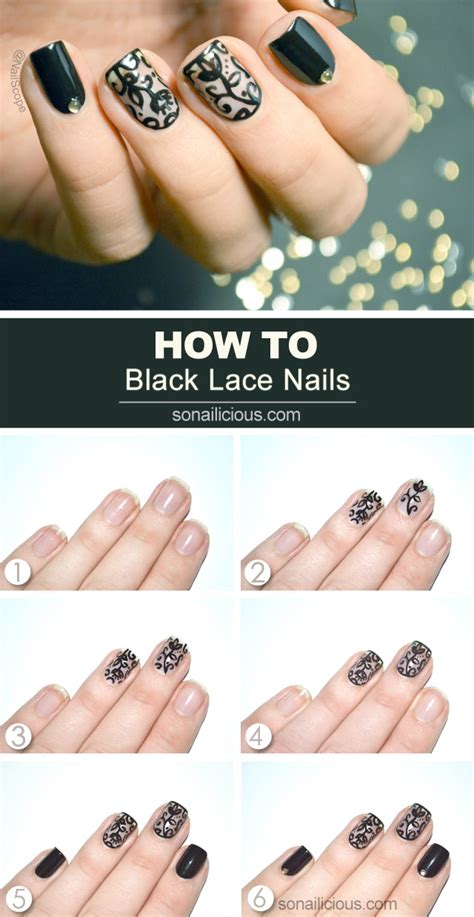 nail art design tutorial painting black lace nail art tutorial