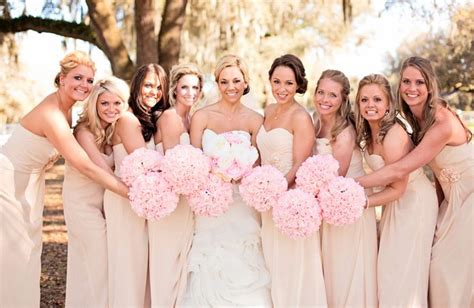 chagne color wedding chagne bridesmaid dresses pink and