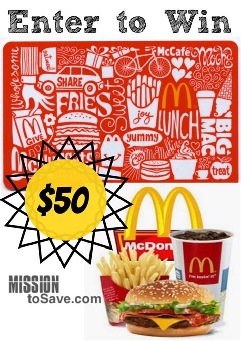 Where Can I Get A Mcdonalds Gift Card - enter to win 50 mcdonald s gift card mcdonalds mission to save