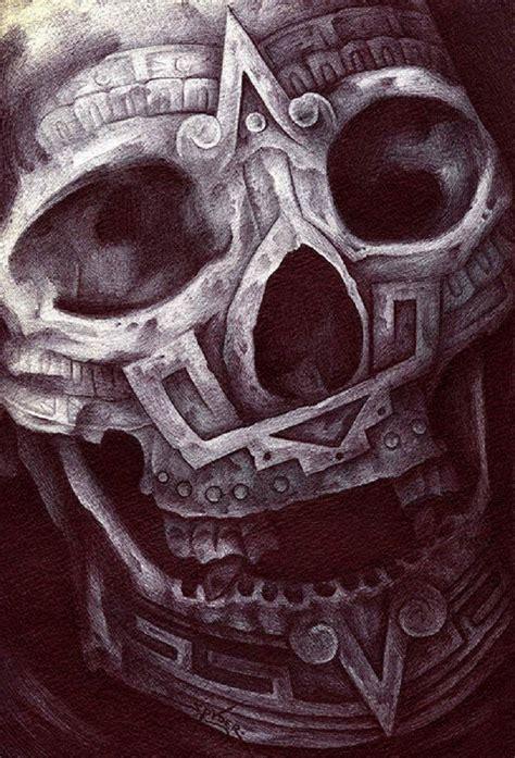 aztec skull tattoo aztec skull by spyder ancient mexico tribal canvas
