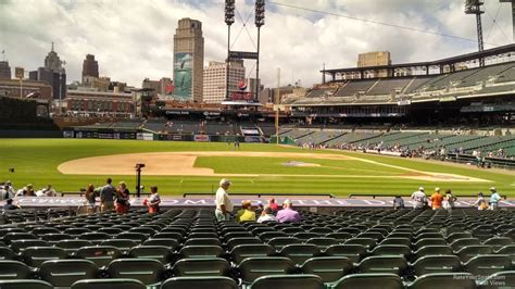 comerica park section 130 field level infield comerica park baseball seating