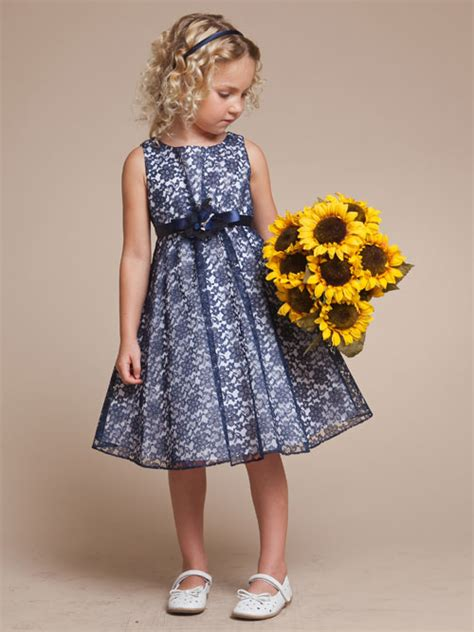 pattern flower girl dress floral pattern blue lace flower girl dress with