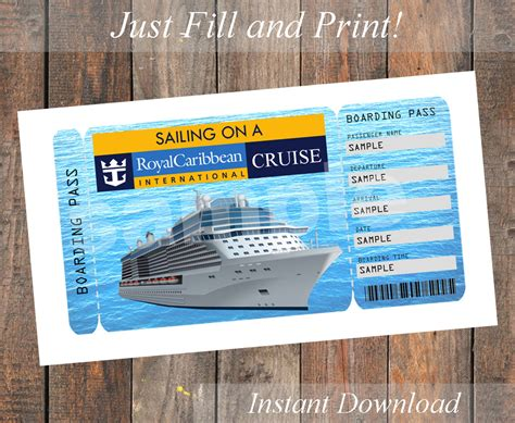 Printable ticket for a royal caribbean cruise by kirstenskreation