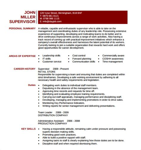 Supervisor Resume Template by 10 Manager Resume Templates Sles Exles Format