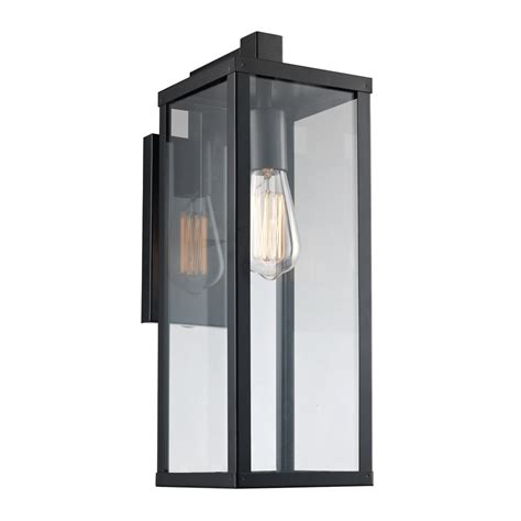 Home Depot Sconce 17 75 In 1 Light Black Outdoor Wall Lantern 40751 Bk