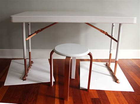diy foldable table legs upcycle a plastic folding desk into a chic desk how tos diy