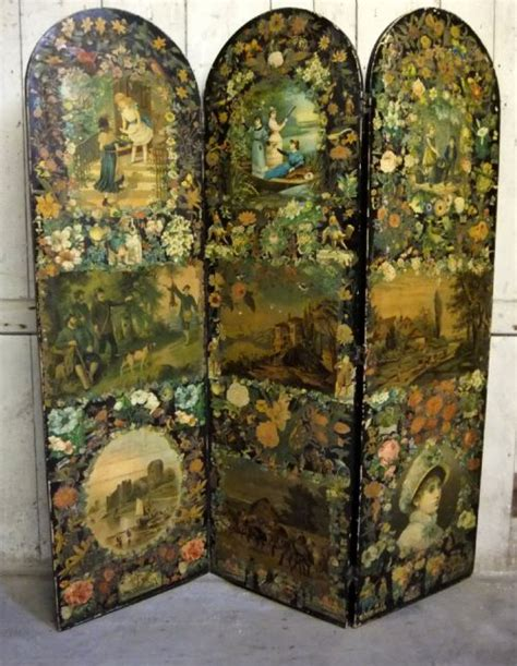 antique decoupage scrap screen 201892