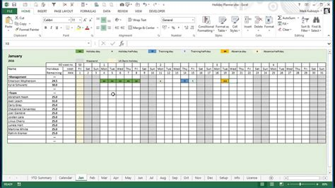 year holiday training absence planner  excel