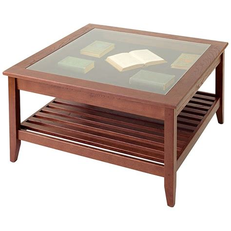 Coffee Table With Display Top Glass Top Display Coffee Table Square Manchester Wood
