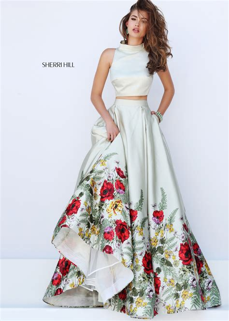 Pista Green Color by Green Satin Floral Printed Crop Top Sherri Hill Style