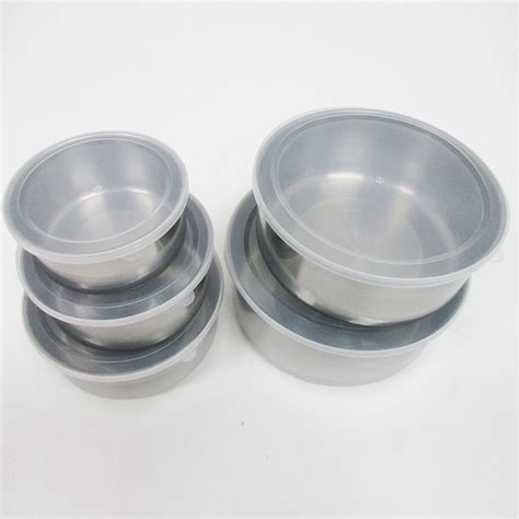 metal food container 10 pcs steel metal food storage saver containers mixing bowl cookware set new