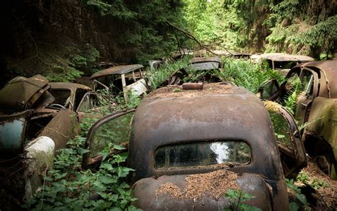 classic landscape wallpaper abandon deserted overgrowth classic car classic forest hd