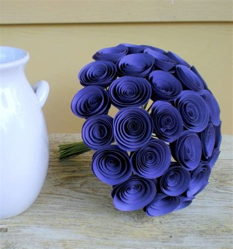 How To Make Handmade Flower Bouquet - items similar to violet bridal bouquet large handmade