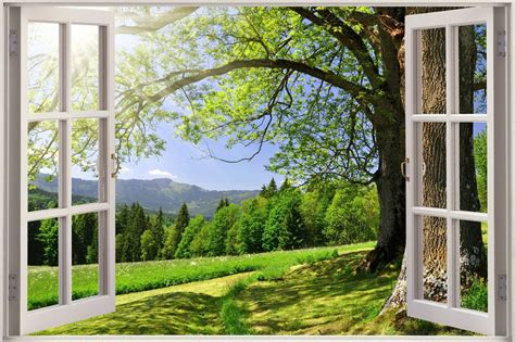 window with a view huge 3d window beautiful green meadow view wall stickers