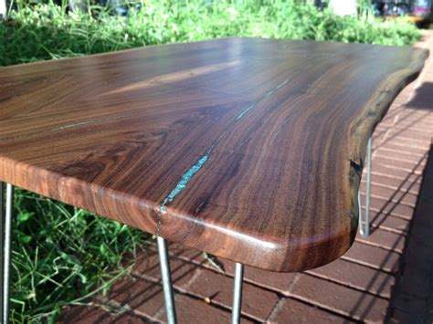 live edge table with turquoise inlay one original boulder furniture arts