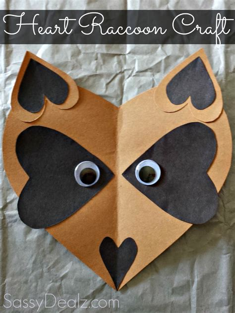 craft paper hearts paper raccoon craft for crafty morning
