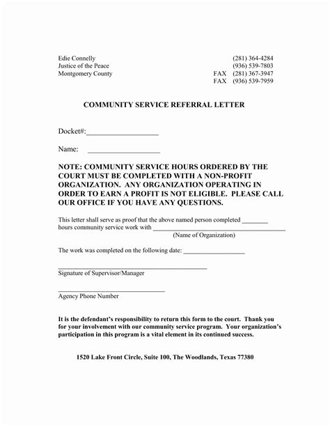 community service template court ordered community service letter template sles