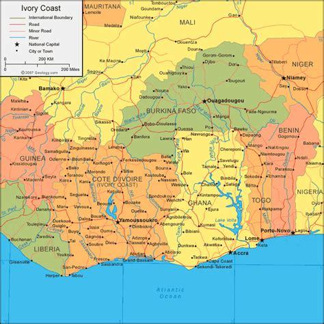 ivory coast on the map map of ivory coast africa