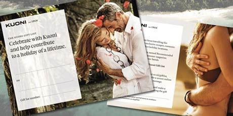 Kuoni Gift Card - gift list honeymoon gift list wedding gift list kuoni